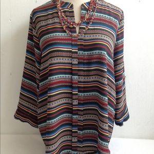 Boho Multi Stripe Tunic Top Blouse